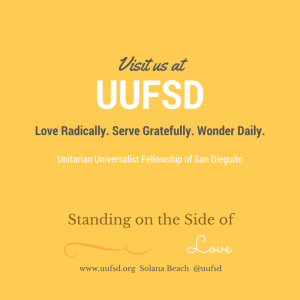 Visit us at UUFSD love serve wonder sosol